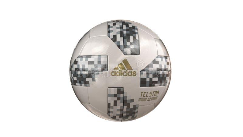 Palla 2018 della coppa del Mondo di Fifa con adidas ed il nome immagini stock libere da diritti