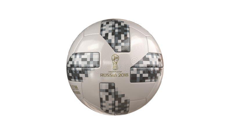 Palla 2018 della coppa del Mondo di Fifa con il logo della Russia fotografia stock libera da diritti
