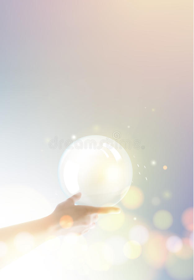 Palla della luce intensa sopra la mano umana illustrazione vettoriale