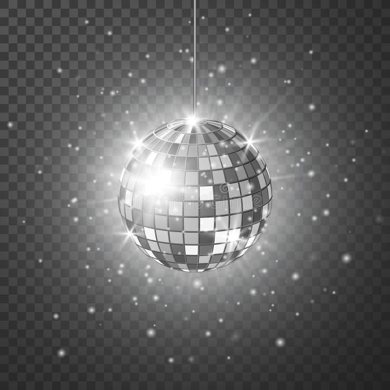 Palla dello specchio o della discoteca con i raggi luminosi Fondo del partito di notte di ballo e di musica Retro fondo 80s e 90s illustrazione vettoriale