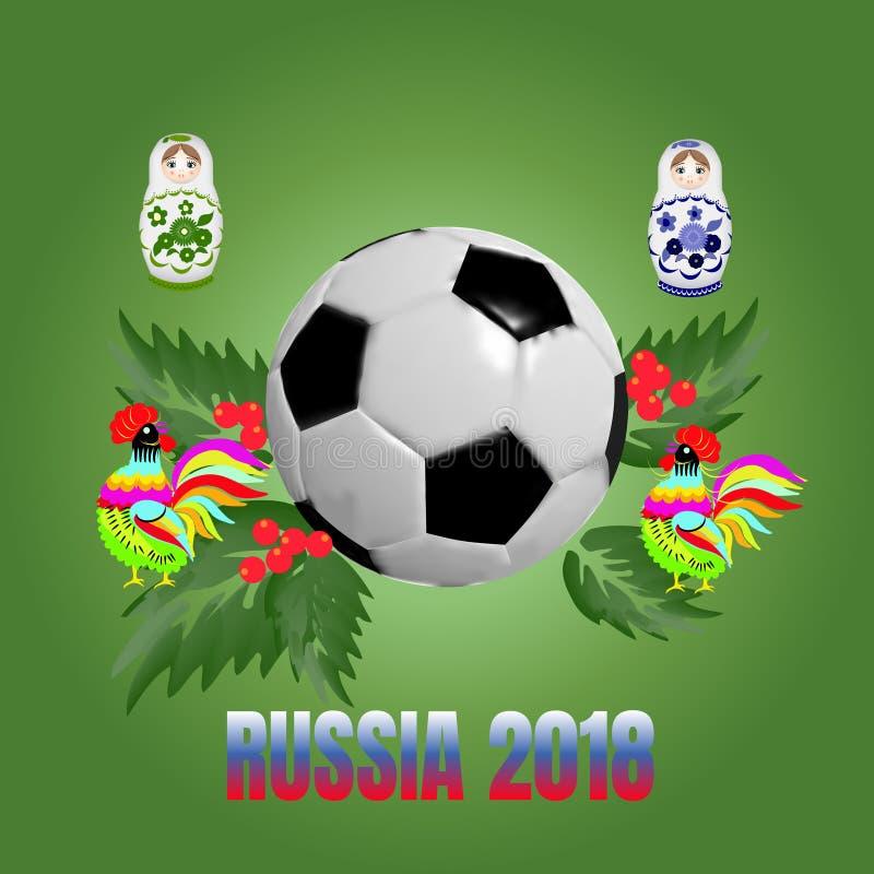 Palla di calcio con i galli, le foglie e le bambole russe di incastramento su un fondo verde fotografie stock libere da diritti