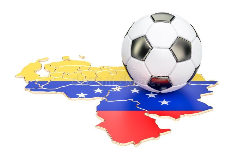 Palla di calcio con la mappa del concetto del Venezuela, rappresentazione 3D royalty illustrazione gratis