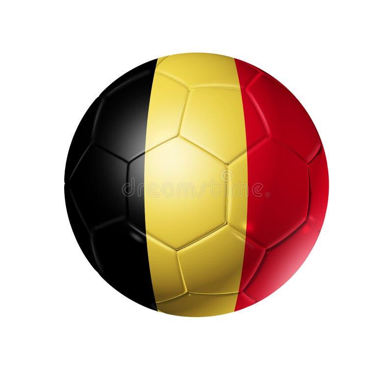 Palla di calcio di calcio con la bandiera del Belgio illustrazione di stock