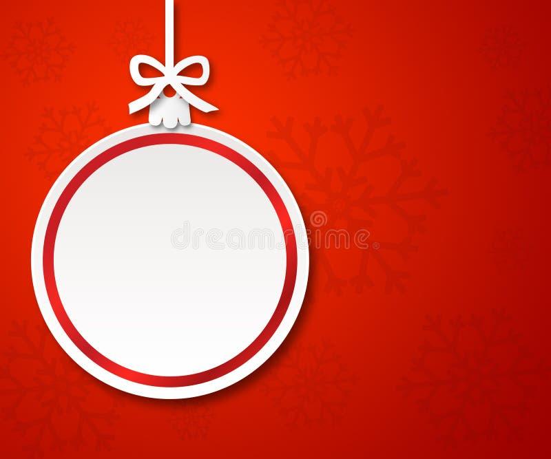 Palla di carta di Natale su fondo rosso 1 illustrazione vettoriale