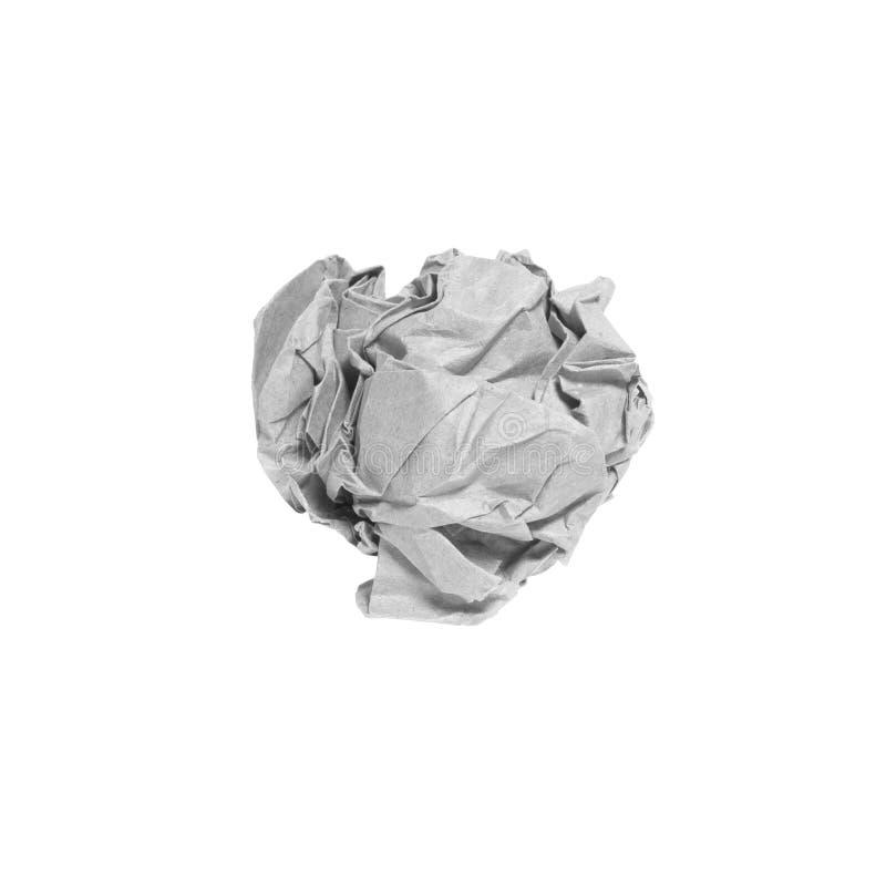 Palla di carta grigia sgualcita isolata sopra fondo bianco immagine stock libera da diritti