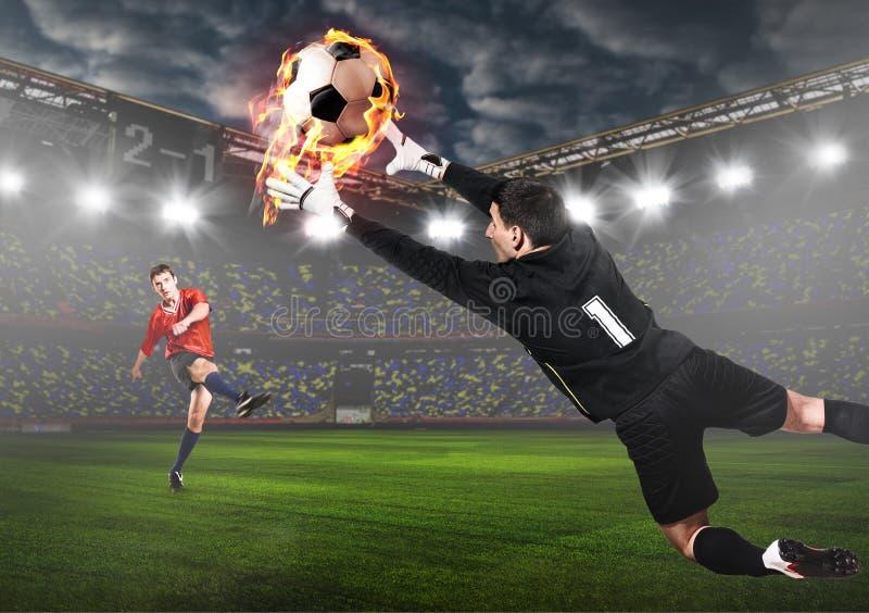 Palla di cattura del custode di calcio o di calcio immagine stock