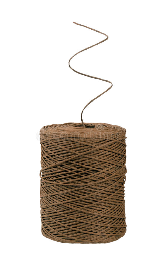 Palla di corda con il filo a spirale, isolata sopra bianco fotografie stock