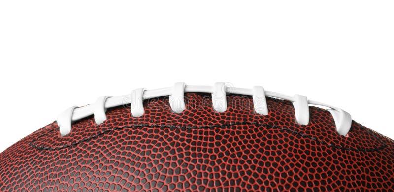 Palla di cuoio di football americano su fondo bianco immagine stock libera da diritti