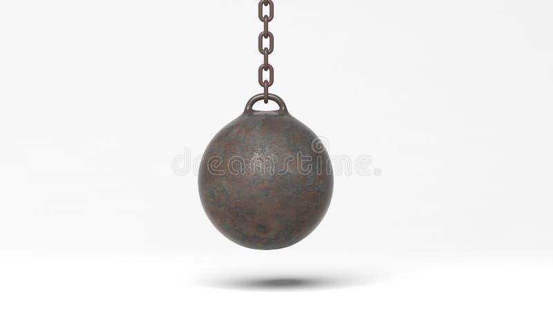 Palla di distruzione arrugginita metallica sulla catena illustrazione di stock