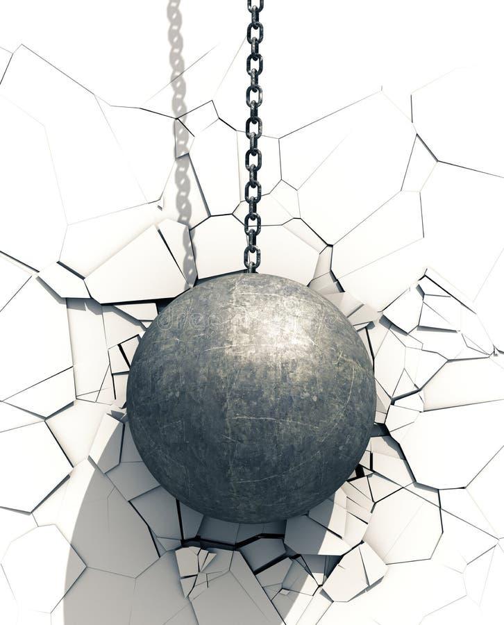 Palla di distruzione metallica che rompe parete bianca illustrazione di stock
