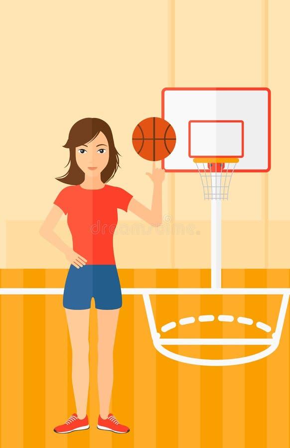 Palla di filatura del giocatore di pallacanestro illustrazione di stock