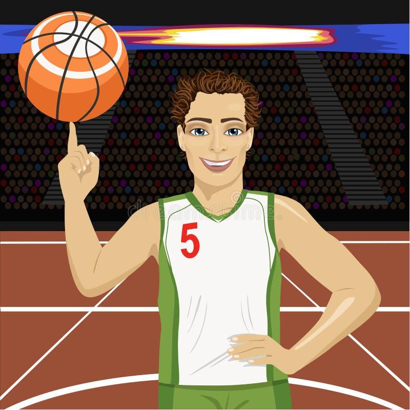 Palla di filatura di pallacanestro del giovane con il suo dito sulla corte in arena royalty illustrazione gratis