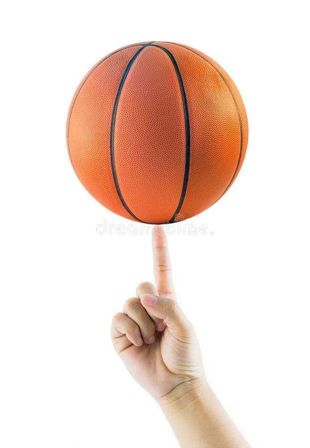 Palla di filatura o pallacanestro del canestro della mano fotografia stock libera da diritti