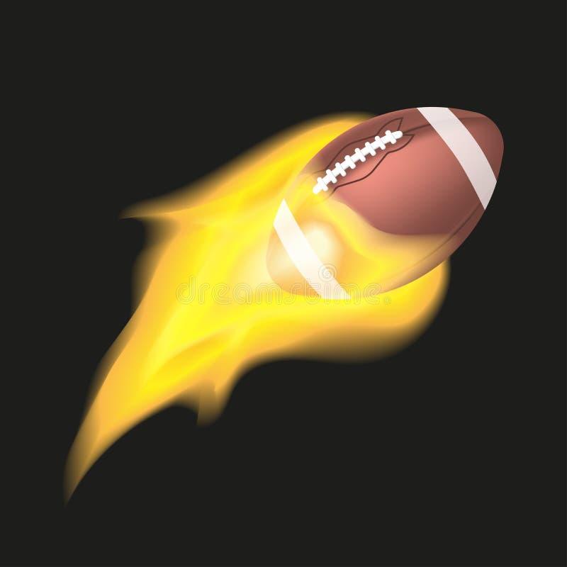 Palla di football americano che fiammeggia su un fondo nero Oggetto con fuoco illustrazione vettoriale