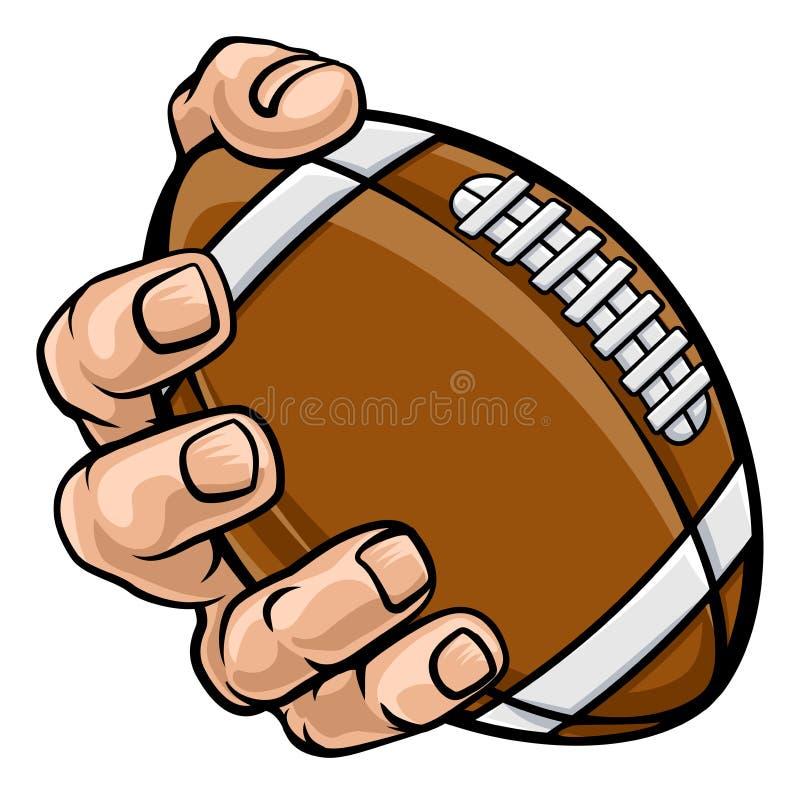 Palla di football americano della tenuta della mano illustrazione vettoriale