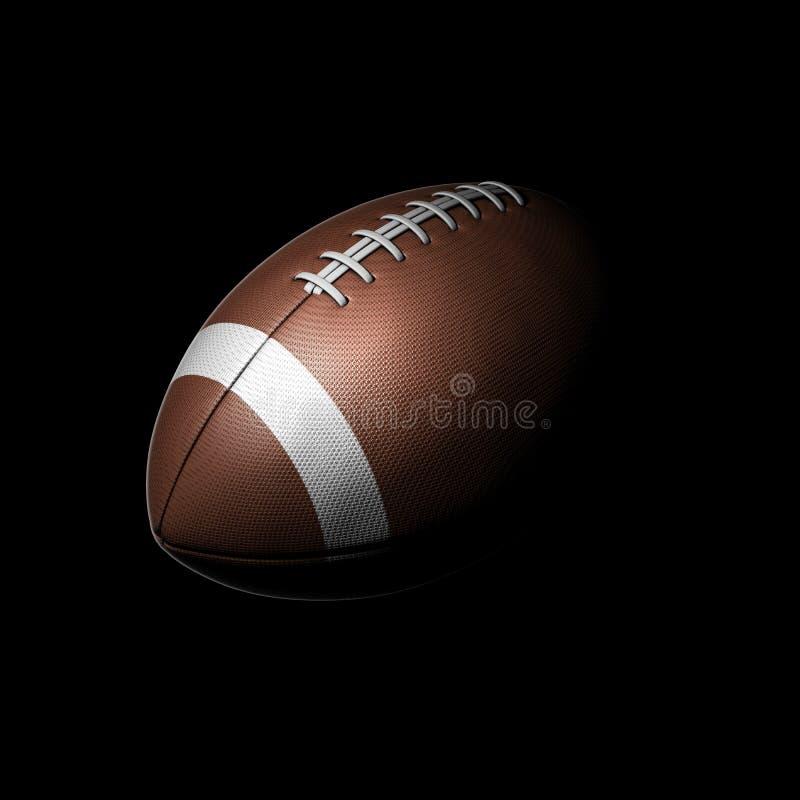 Palla di football americano su fondo nero illustrazione vettoriale