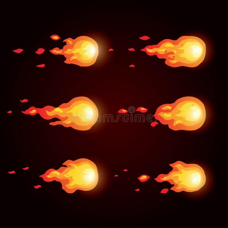 Palla di fuoco di animazione Animazione di fuoco Sprite per i giochi royalty illustrazione gratis