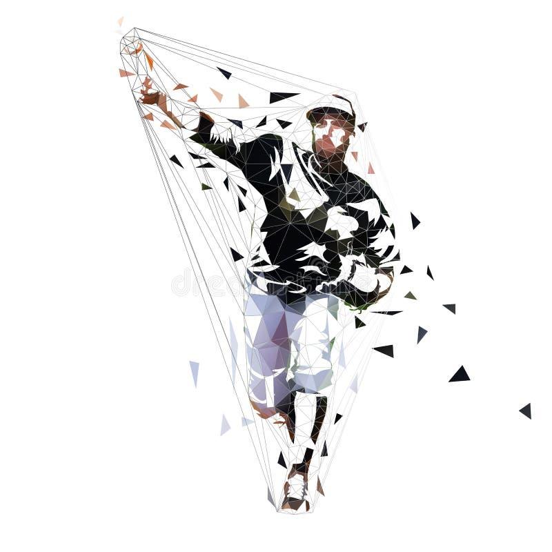 Palla di lancio del lanciatore di baseball, illustrazione geometrica di vettore Poli atleta basso dello sport di squadra illustrazione vettoriale