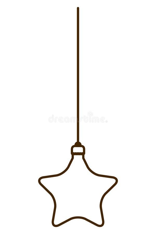 Palla di Natale con forma della stella che appende icona isolata illustrazione di stock