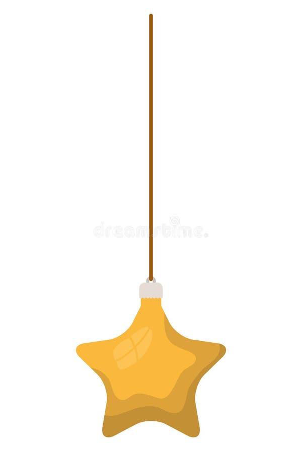 Palla di Natale con forma della stella che appende icona isolata illustrazione vettoriale