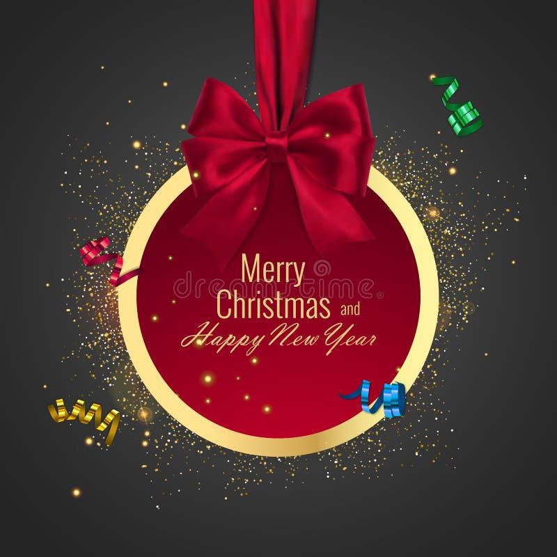 Palla di Natale, struttura rotonda di festa Insegna con il nastro rosso ed arco per il buon anno illustrazione vettoriale