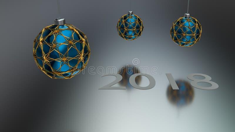 Palla di natale di tre blu chiusa agli ornamenti dell'oro royalty illustrazione gratis