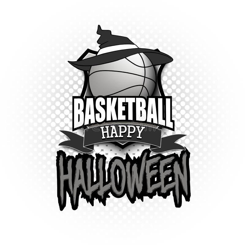 Palla di pallacanestro con il cappello della strega e Hallowen felice illustrazione vettoriale