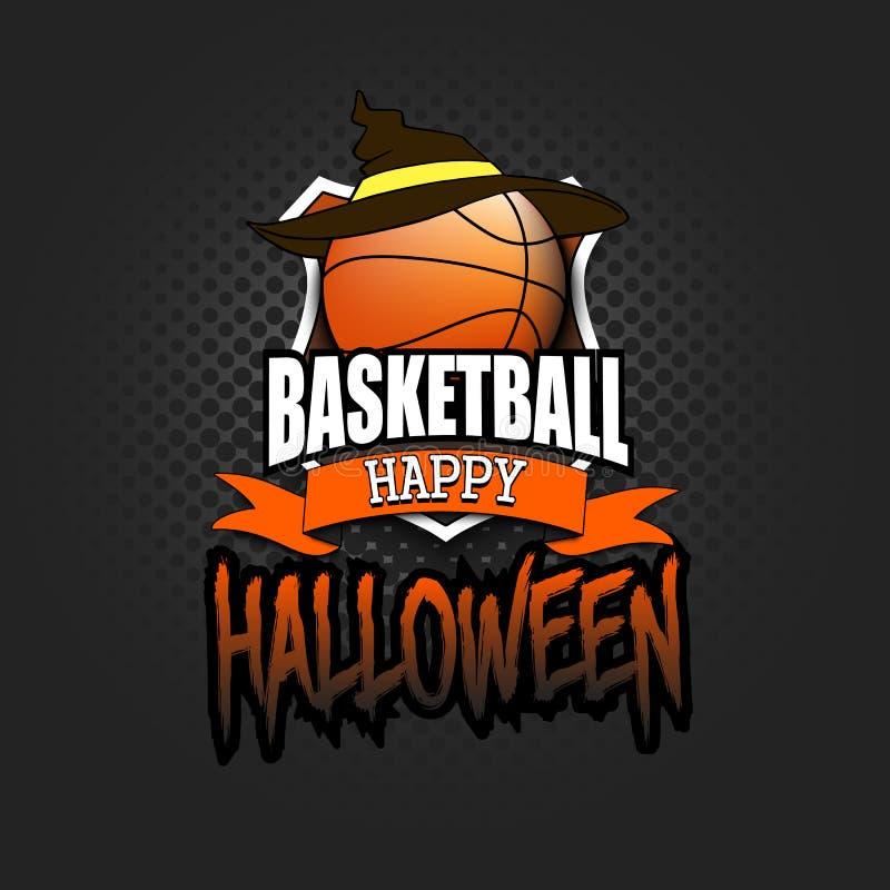 Palla di pallacanestro con il cappello della strega e Hallowen felice illustrazione di stock