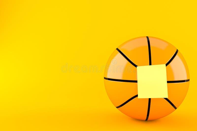 Palla di pallacanestro con l'autoadesivo giallo in bianco illustrazione di stock