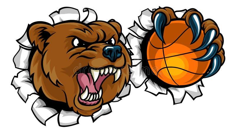 Palla di pallacanestro della tenuta dell'orso che rompe fondo illustrazione di stock
