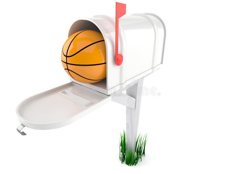 Palla di pallacanestro dentro la cassetta delle lettere royalty illustrazione gratis