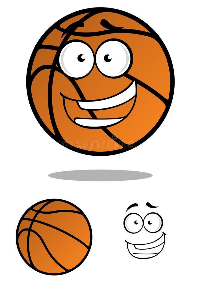 Palla di pallacanestro di Cartooned con il fronte sorridente illustrazione vettoriale