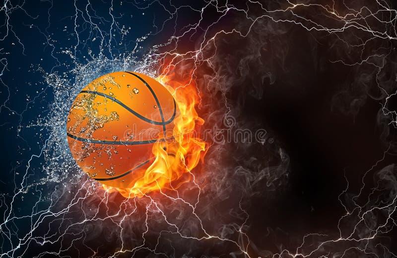 Palla di pallacanestro in fuoco ed acqua illustrazione vettoriale