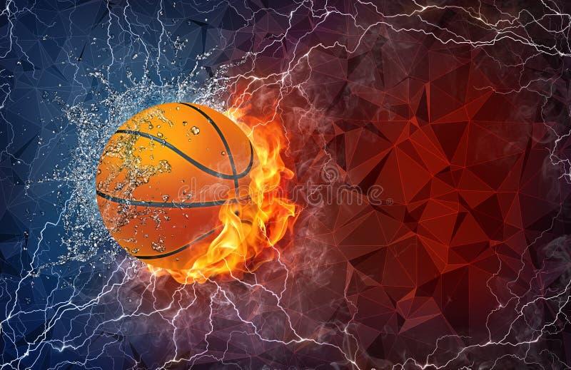 Palla di pallacanestro in fuoco ed acqua illustrazione di stock