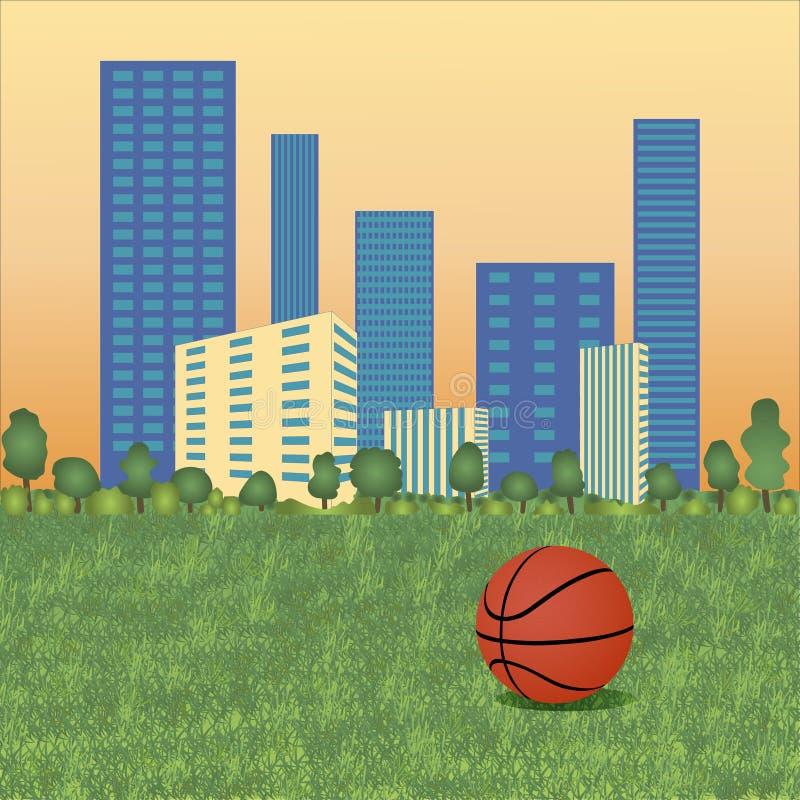 Palla di pallacanestro su paesaggio urbano illustrazione di stock