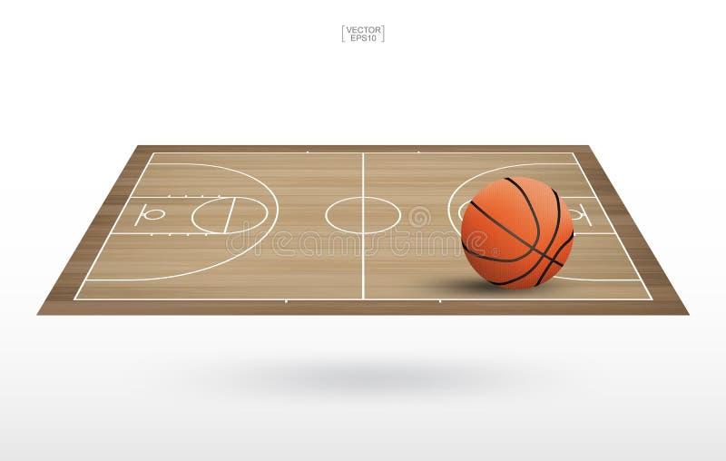 Palla di pallacanestro sul campo da pallacanestro con il fondo di legno del modello e di struttura del pavimento royalty illustrazione gratis