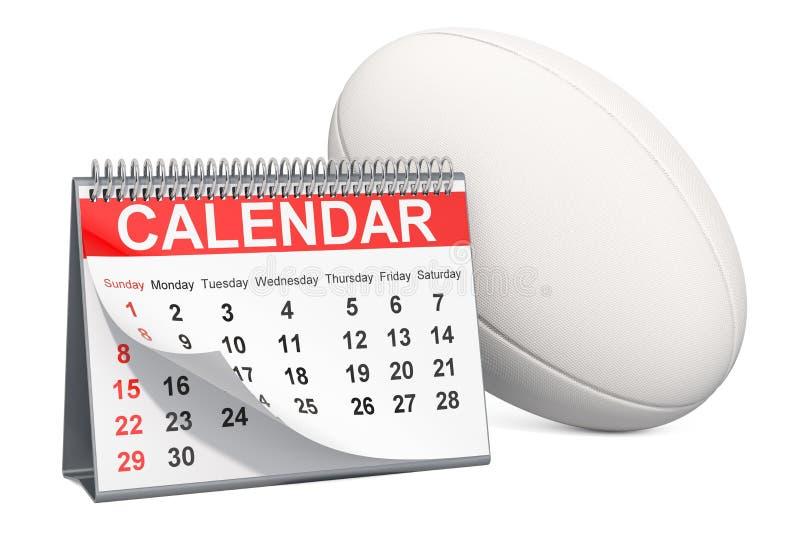Palla di rugby con il calendario, concetto del calendario di eventi di rugby rappresentazione 3d illustrazione vettoriale