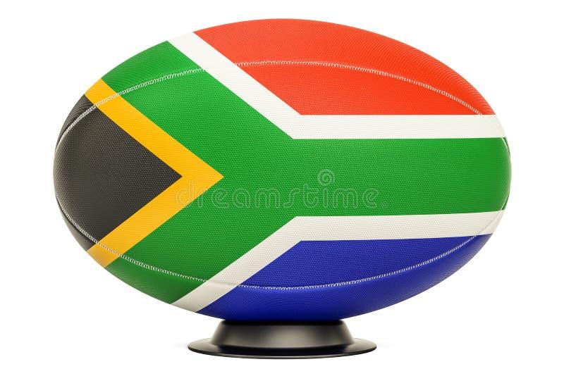 Palla di rugby con la bandiera del Sudafrica, rappresentazione 3D illustrazione di stock