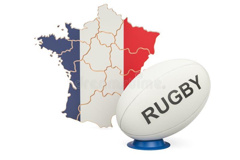 Palla di rugby con la bandiera della Francia, rappresentazione 3D illustrazione vettoriale