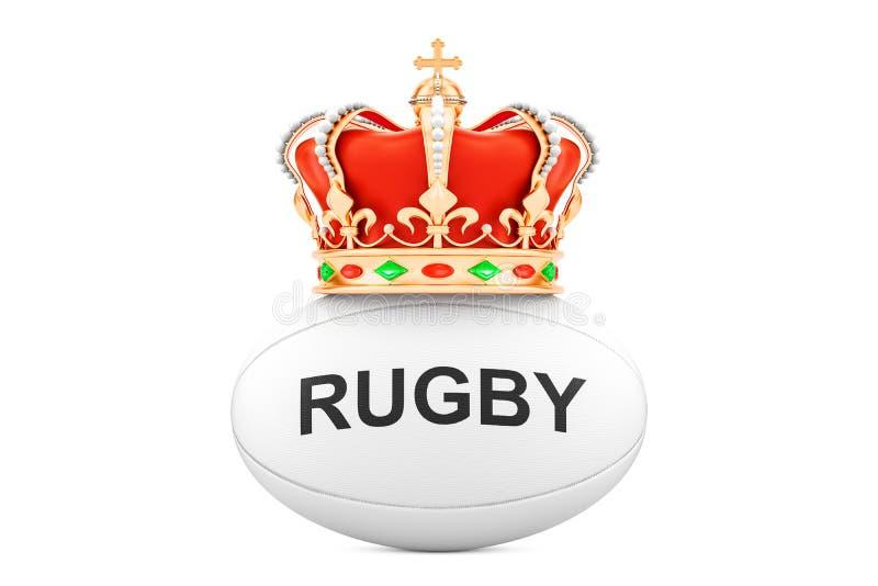 Palla di rugby con la corona reale, rappresentazione 3D illustrazione di stock