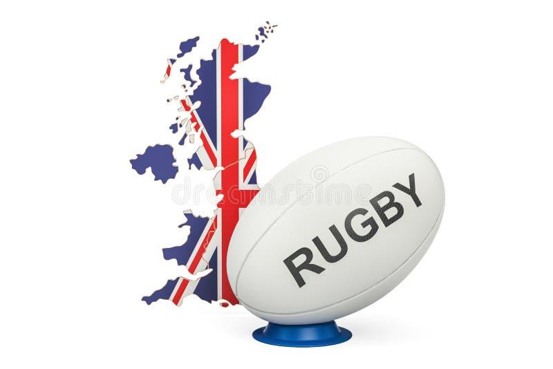 Palla di rugby con la mappa del Regno Unito, rappresentazione 3D illustrazione vettoriale