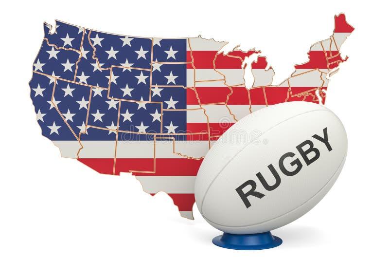 Palla di rugby con la mappa di U.S.A., 3D illustrazione vettoriale