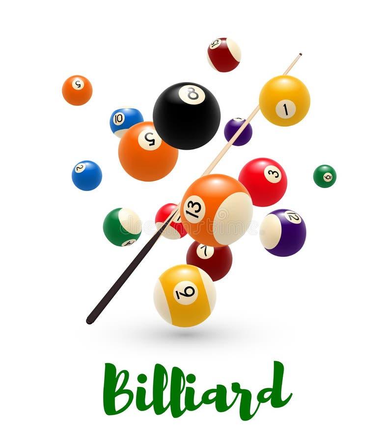 Palla di stagno del biliardo, manifesto di stecca per progettazione dello snooker illustrazione di stock