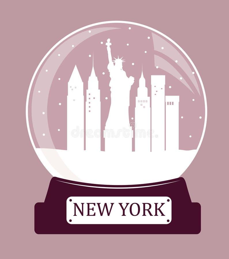 Palla di vetro di natale di New York illustrazione di stock