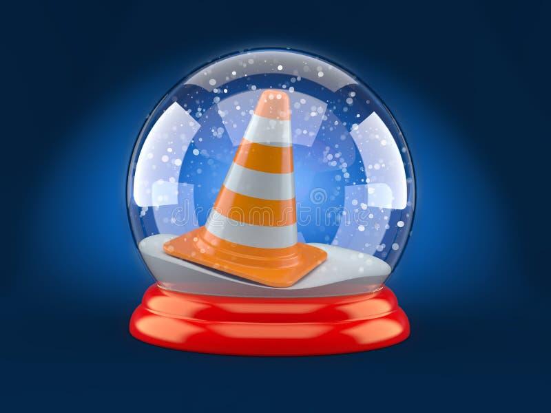Palla di vetro di Natale con il cono di traffico illustrazione vettoriale