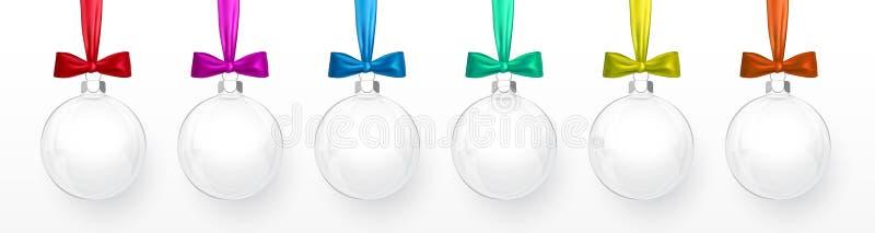 Palla di vetro di natale su fondo bianco Modello della decorazione di festa Illustrazione di vettore illustrazione vettoriale