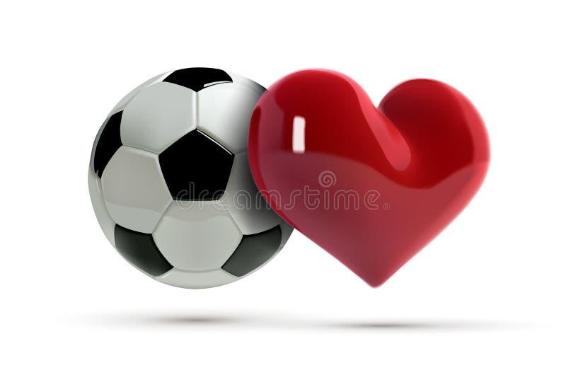 Palla di vettore di calcio o di calcio e cuore rosso Pallone da calcio realistico con il cuore di amore nello stile 3d Insegna di royalty illustrazione gratis