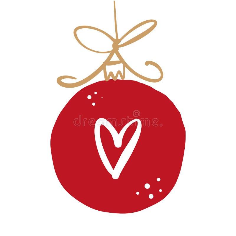 Palla disegnata a mano del giocattolo dell'illustrazione di Natale di vettore con il simbolo del cuore royalty illustrazione gratis