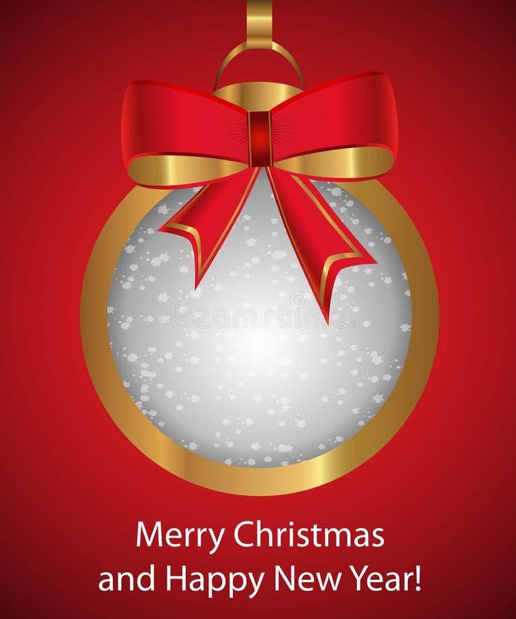 Palla dorata di Natale con l'arco su fondo rosso Decorazione fra royalty illustrazione gratis
