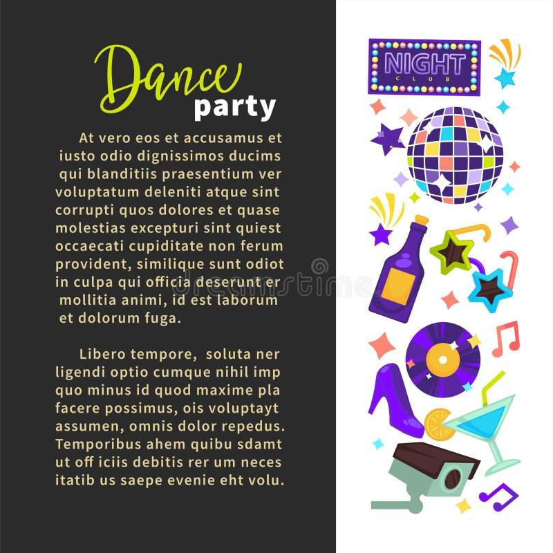 Palla e champagne della discoteca del manifesto del night-club del partito di ballo royalty illustrazione gratis